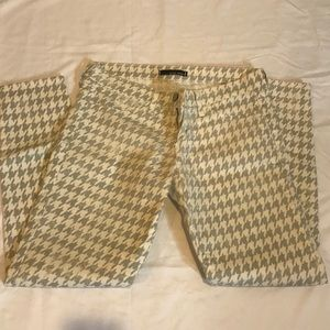 FLYING MONKEY Cream and Gray Houndstooth Jeans - 9